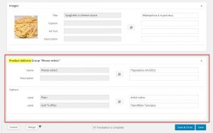 Product Add-ons Section On The Product Translation Page