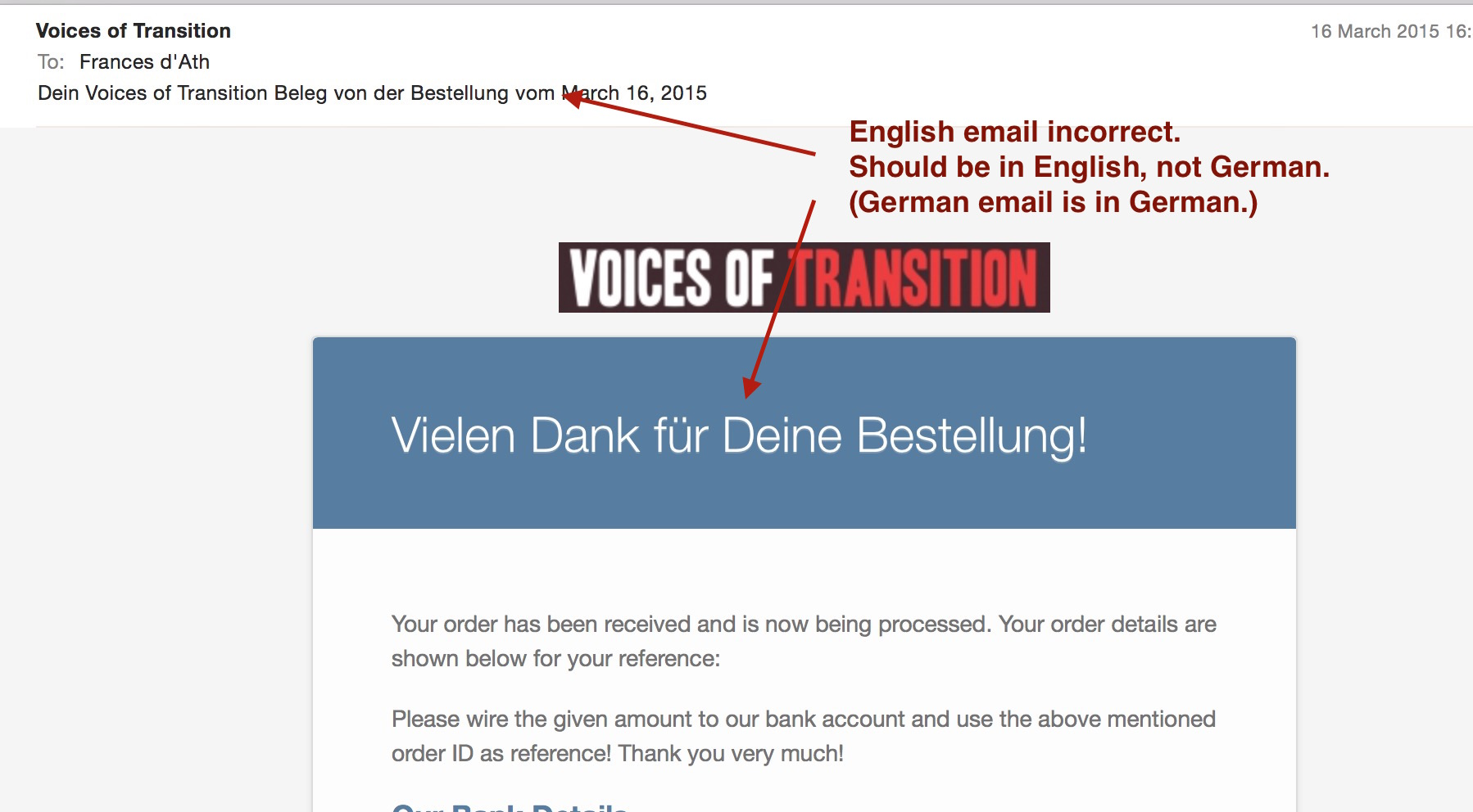 WooCommerce Order Received email strings in translated