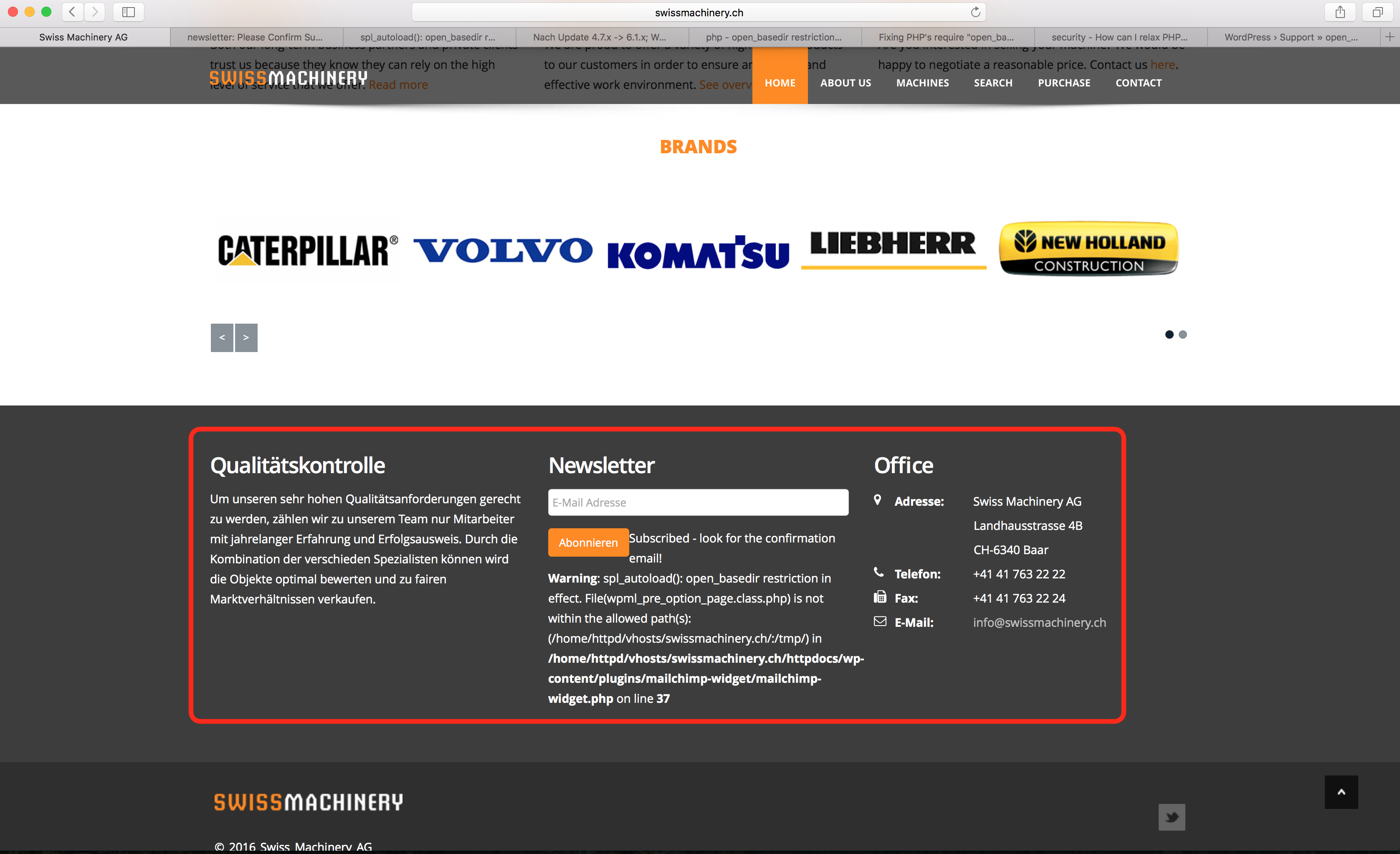 footer in wrong language +homepage links not translating