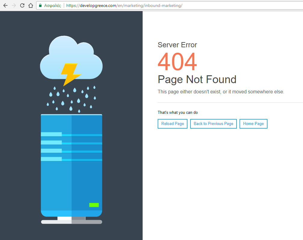 404 error page in second language (sometimes in default
