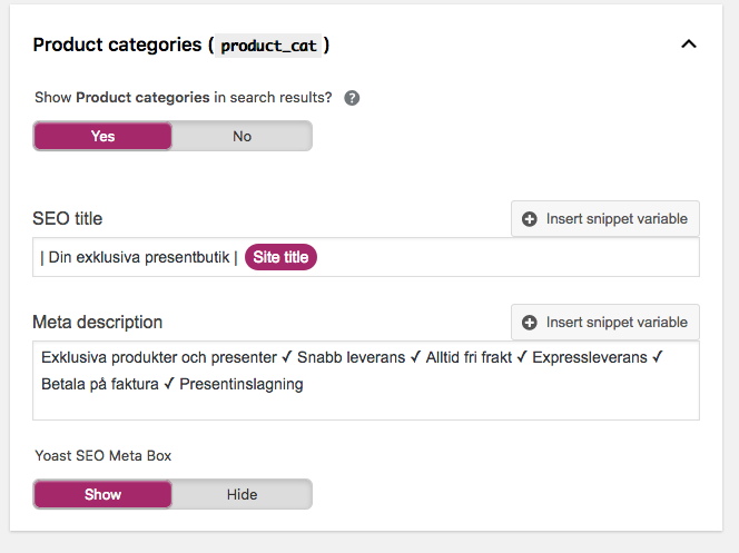 Yoast -> Search Appearance -> Taxonomies --> Product Categories .png