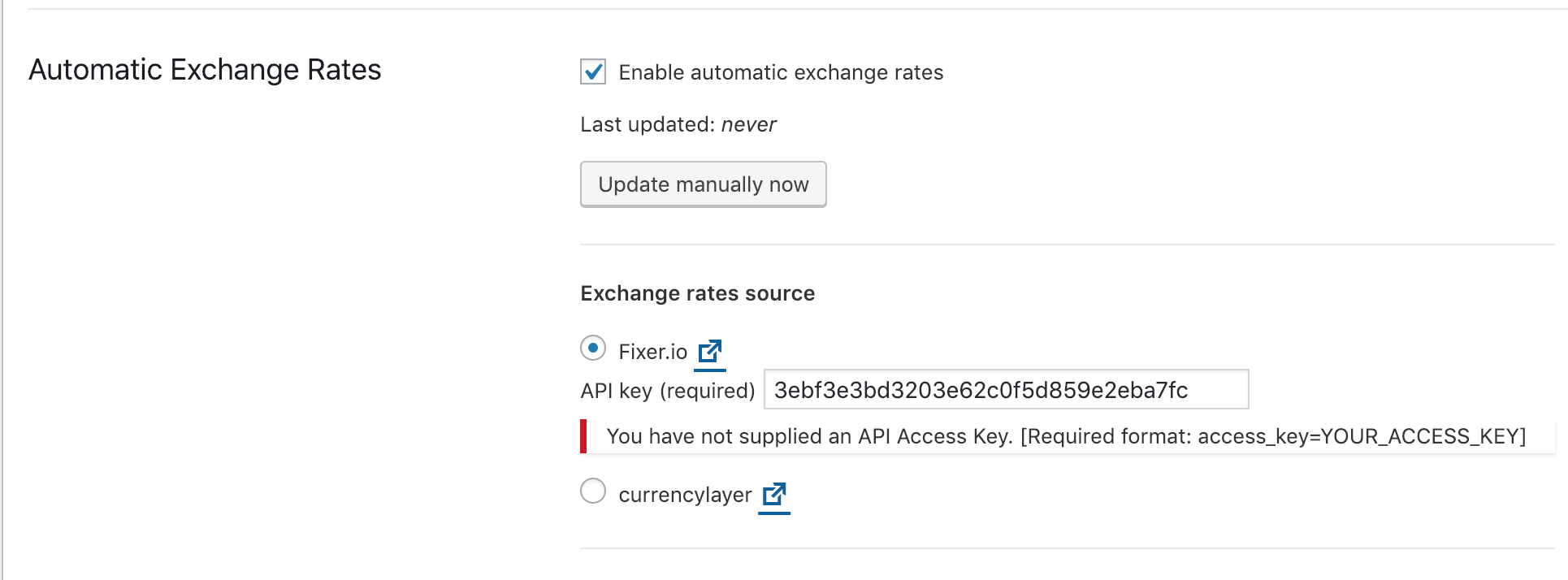 currencylayer & fixer_dot_io > You have entered an incorrect