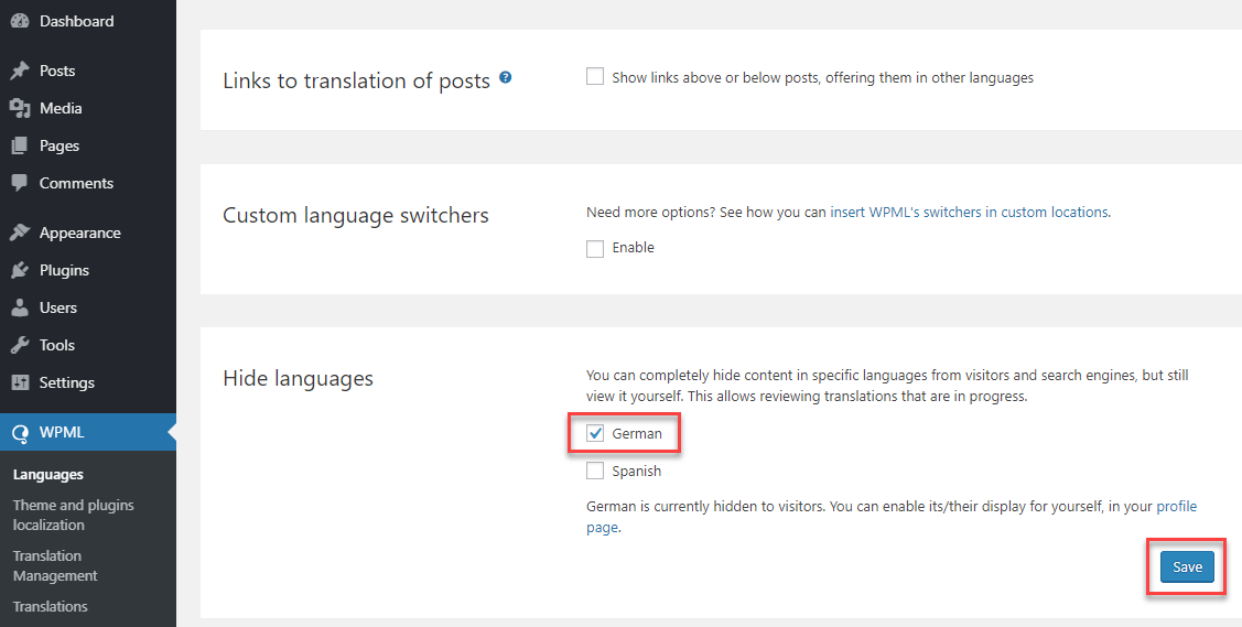 How to hide languages from the front-end - WPML