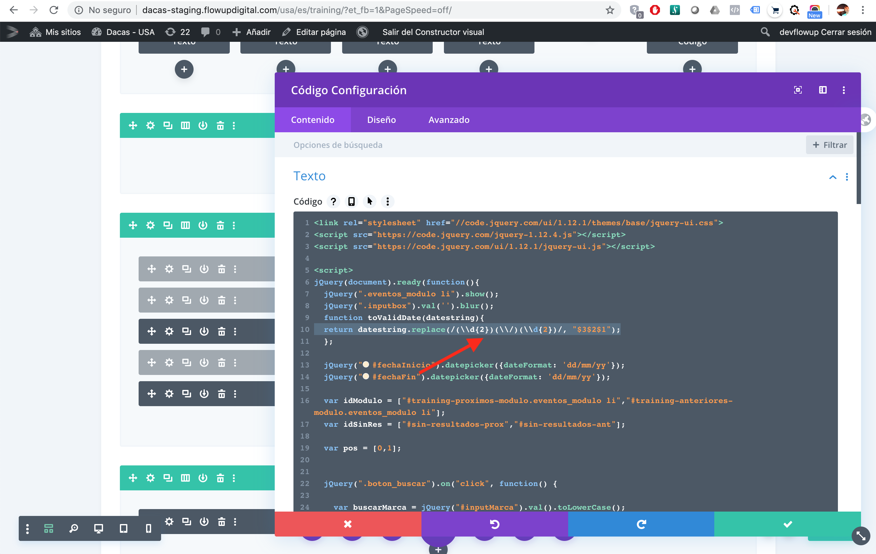 Divi Editor - Code Module editor - Spanish page.png