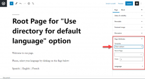 WordPress root page example when using Block editor, Page Attributes drop down
