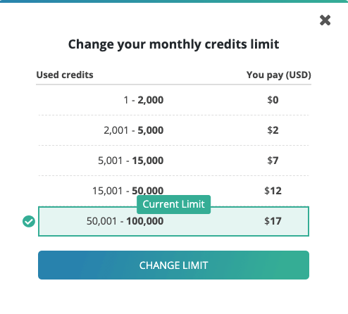 Changing your payment limit
