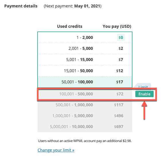 Enabling a higher payment limit