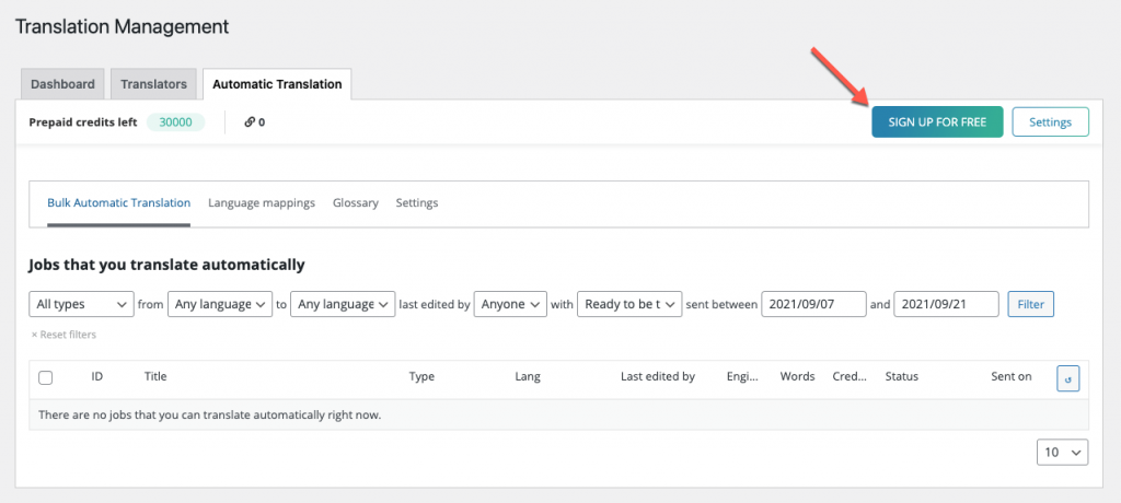 Creating an automatic translation account