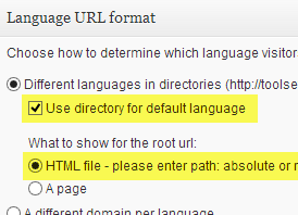 Directory for default language