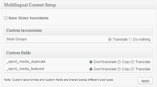 Configuration du contenu multilingue