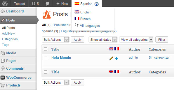Editor privileges in Spanish