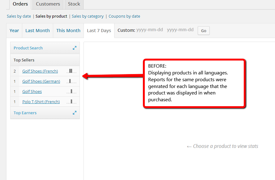 Sales by product (before WooCommerce Multilingual 3.3)